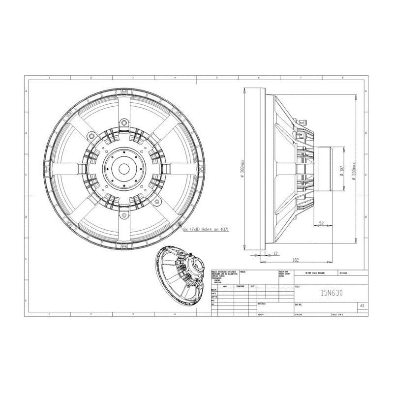 Bms 15n630 15 Neodymium Speaker 600 W 8 Ohms