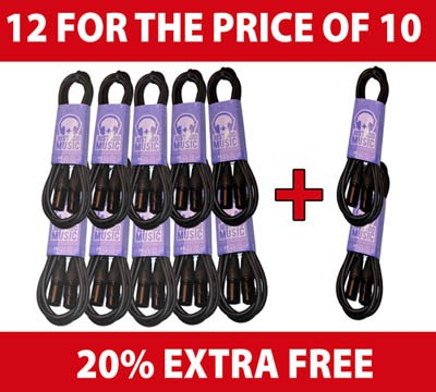 Pack of 0.5M XLR Cables - 12 for the price of 10!