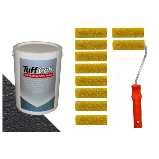 Tuff Cab Speaker Refurb Kit 5kg paint 10 textured rollers from